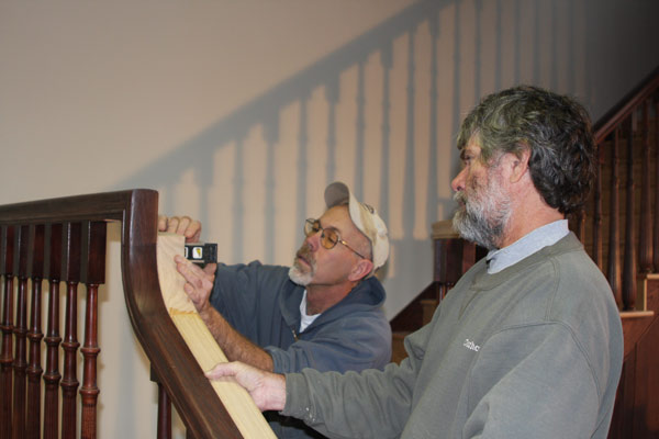 Lynn Richardson & assistant working on HOHS staircase