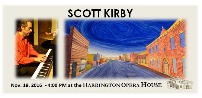 Scott Kirby at a piano and one of his paintings - promo for Nov 19 2016 event at Harrington Opera House